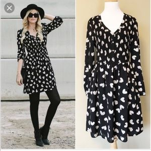 Anthropologie Maeve heart print shirt dress
